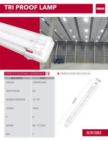 LAMPARA A/POLVO LED 2X18W CON TUBO RCA
