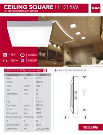 LAMPARA 18W LED CUADRADA SUPERF. RCA